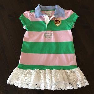 Ralph Lauren Baby Girl Polo Dress Pink Green